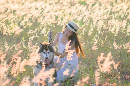 young woman walks feel freedom in the light of warm sun with dog mate buddy, bloom of wild flower in meadow, enjoyment and peaceful in the field of meadow