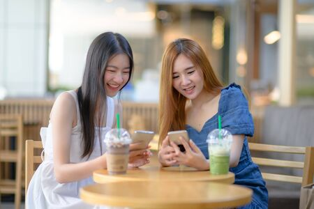 young asian women online with social media in anywhere enjoying, life with live online connecting to the World update media