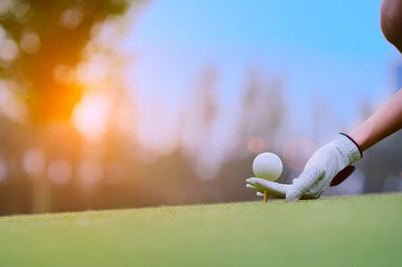 golf ball laying on wooden tee, prepare and ready to hit the ball to the destination target