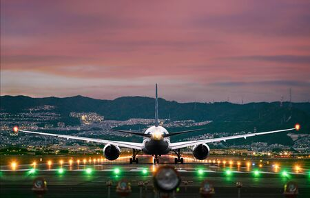 AirPlane standing or just arrival or departure in runway, passengers traveling to aound the World flying by the plane transortation Фото со стока