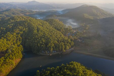 Top aerial view of the river creek and forest view at morning sunbeam, Pang Oung the famous and popular for tourist, traveller place in cold season in northern part of Thailand