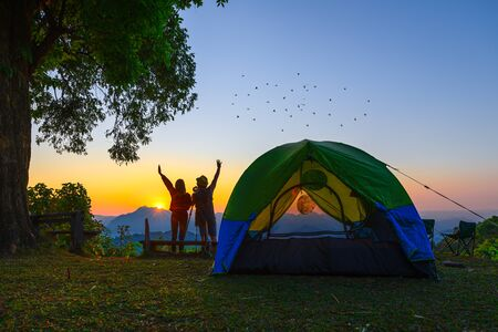 woman and man couple lover or traveller camping in campsite with freshly morning action cheerfully