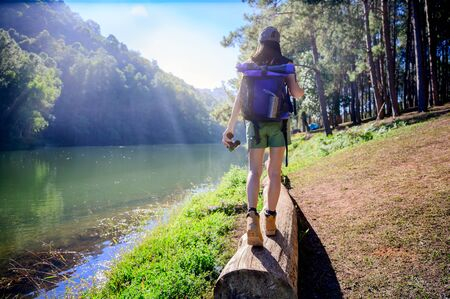 woman trekking walks on the log timber of the forest jungle, explore the nature in holidays weekend at summertime