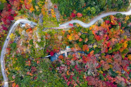 Aerial view of autumn view of the season change in Japan country side, Minooh park water fall the famous and popular place for tourist in summertime, incoming sport event occasion travel in Japan
