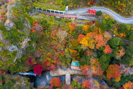 Aerial view of autumn view of the season change in Japan, Minooh park water fall the famous and popular place for tourist in summertime, ravel and visit japan on incoming sport event Banque d'images
