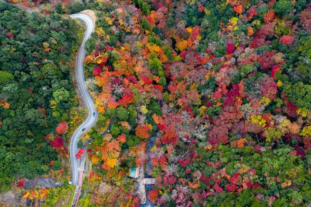 Aerial view of the scenery autumn view of the season change in Japan country side, Minooh park water fall the famous and popular place for tourist in summertime, incoming sport event occasion travel in Japan