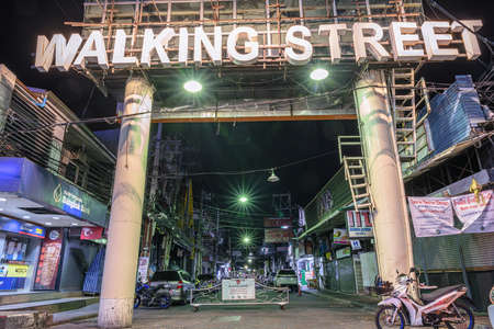 Shutdown clear for empty area at Nightlife of walking Street of Pattaya against infect of COVID 19, effect to business services at popular and famous place of the World on date 2020-03-31 at 19:23:42