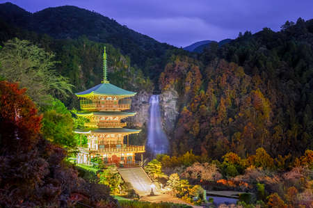 The popular and famouse temple shrine of the Japan tourist wih scenery view of nachi falls present wonderful in background, japan tourist place