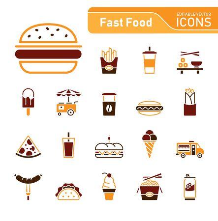 Fast food icon set