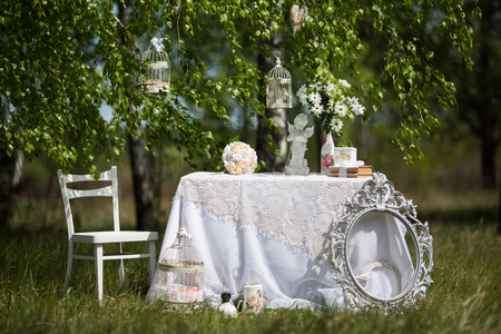 arranging chairs: decor for the wedding photo shoot