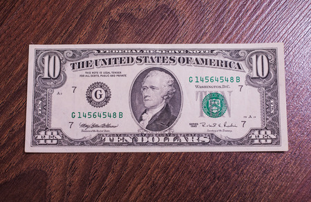 front side: ten dollar bill 1995 of release front side