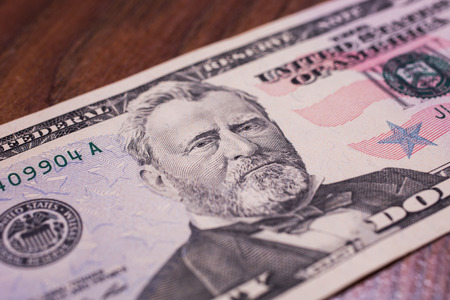 fifty dollar bill: background of the money, fifty dollar bills front side. background of dollars, close up, Portrait of U.S. statesman, inventor, and diplomat Ulysses S. Grant as he looks on fifty dollar bill obverse , face bill of fifty dollars Stock Photo