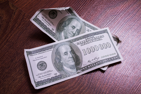 million dollars: bill of one million dollars, a new brilliant idea, a million dollars, the thirst for wealth, success, get rich millionaire, background of the money, very rare banknote Stock Photo