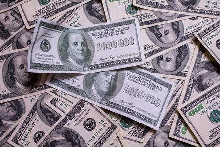 million dollars: bill of one million dollars, a new brilliant idea, a million dollars, the thirst for wealth, success, get rich millionaire, background of the money,background of dollars, old hundred-dollar bill face