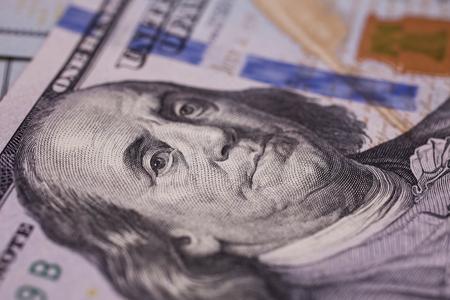 bil: background of the money, hundred dollar bills front side. background of dollars, new hundred-dollar bil facel, the evolution of the bill in one hundred dollars, Benjamin Franklin
