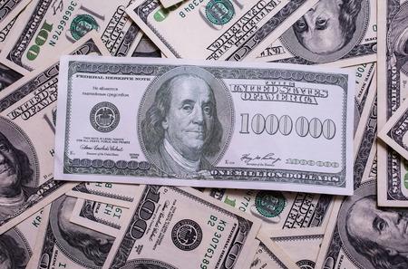 million dollars: bill of one million dollars, a new brilliant idea, a million dollars, the thirst for wealth, success, get rich millionaire, background of the money,background of dollars, old hundred-dollar bill face, Benjamin Franklin Stock Photo
