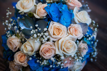 Wedding flowers bouquet of pink roses and blue flowers roses wedding flowers bouquet of pink roses and blue flowers roses preparing for the mightylinksfo