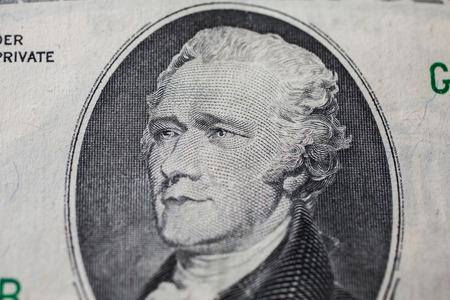 alexander hamilton: il primo segretario al Tesoro Alexander Hamilton su dieci dollari, sfondo soldi, dieci banconote da un dollaro frontale rovescio lato. sfondo di dollari, close up, America Archivio Fotografico