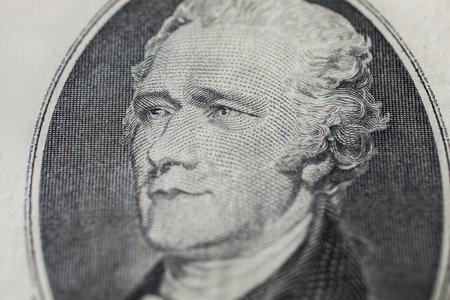alexander hamilton: the first Treasury Secretary Alexander Hamilton on ten dollar bill, money background ,ten dollar bills front side obverse. background of dollars, close up, America Archivio Fotografico