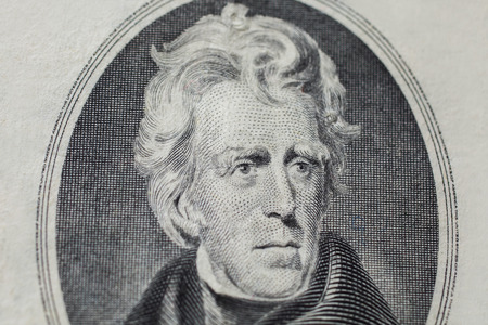 andrew: 7th President of the United States, Andrew Jackson Portrait on twenty dollar bill, money background ,twenty dollar bills front side obverse. background of dollars, close up, America