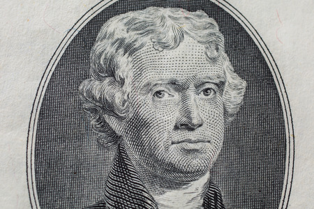 two dollar bill: Portrait of the third US President Thomas Jefferson on two-dollar banknote bill, background of the money, two dollar bills front side obverse. background of dollars, close up, America