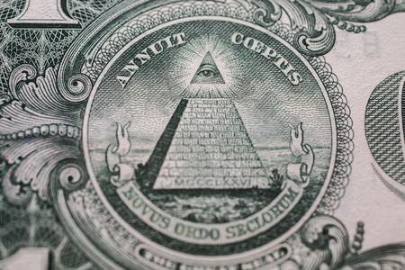 모든 보는 눈, 잘린 된 피라미드 근접 촬영, 돈 배경, 다시 1 달러 법안 뒷면, 달러의 배경, 닫기, 미국