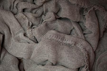 cloth fiber: flax fiber, linen fabric, raw material, cloth bags, linen yarn, grunge texture, linen filament Stock Photo