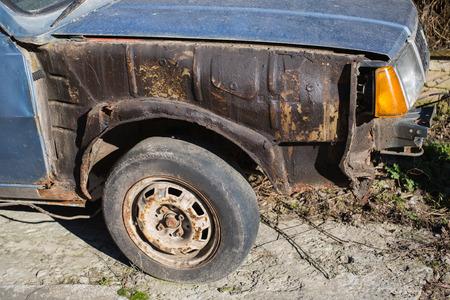 rusty car: old rusty car, old wheel