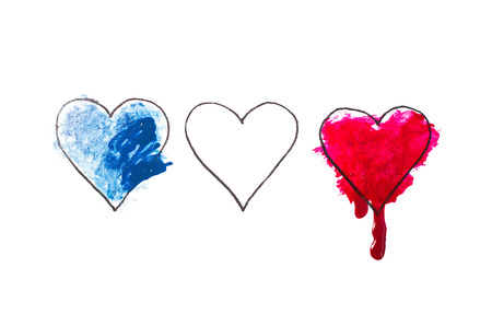 tragedies: Tragedy in Nice, France. Heart painted in watercolor. Pray for Nice.