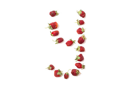 Red strawberries isolated on white background. Funny letters. English alphabet. ABC. Letter Y
