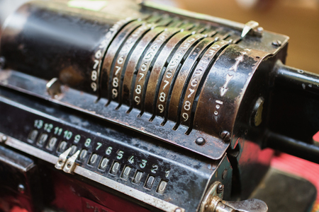 computing machine: Calculating machine. Old metal computing equipment. Antiques