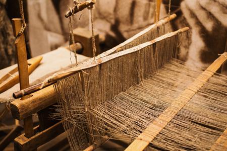 Details handloom flax yarn. Flax fiber Stock Photo