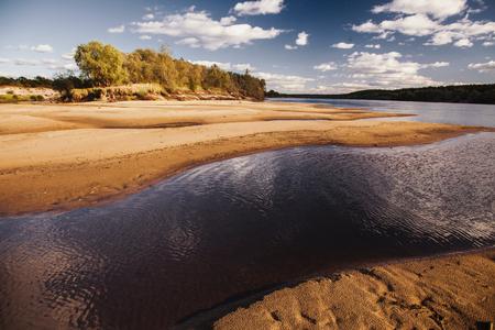 아름 다운 여름 풍경입니다. 밝고 맑은 푸른 하늘에 흰 구름입니다. 해변에서 노란 모래입니다. 물 표면입니다. 평야의 강. 녹색 단풍입니다. 야생의 자 스톡 콘텐츠