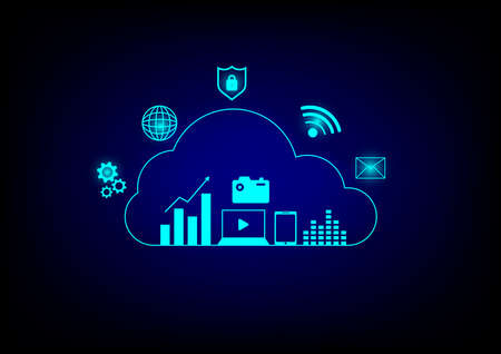 Cloud data storage concept. Cloud computing, wifi, money, data and lock security Communication of business and financial.