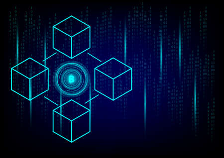 Business and technology concept. Cryptocurrency coin and blockchain technology on black background. Big data information exchanges digital currency and online payment.