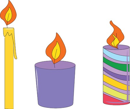 Illustration of three candles on white