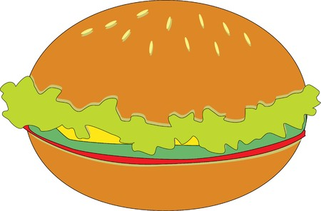 fattening: illustration of a burger on white