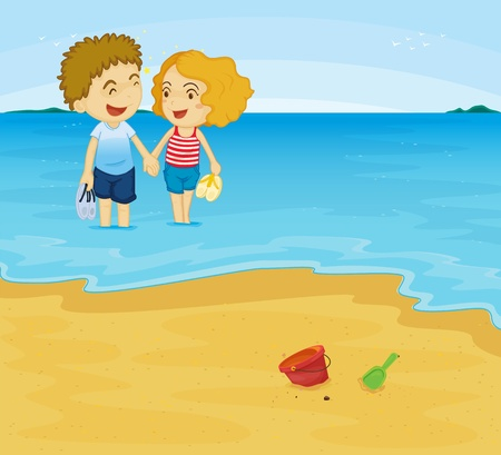 Illustration of romantic couple in water Vector