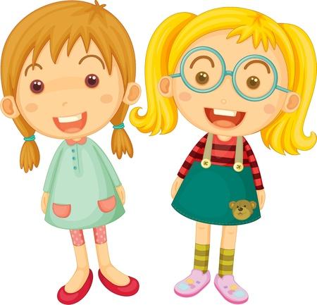 Ilustración de dos muchachas en el fondo blanco