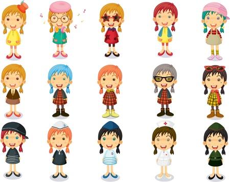 entre filles: Illustration du Groupe des Filles Affichage D�signations differnt sur fond blanc