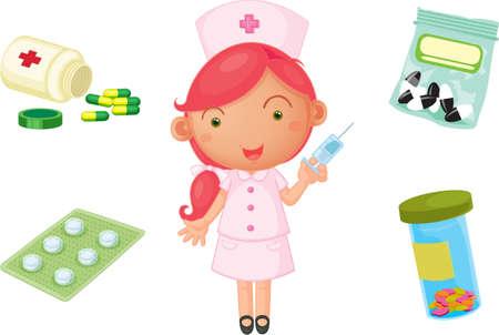 krankenschwester spritze: Illustration eines M�dchens auf einem wei�en Hintergrund