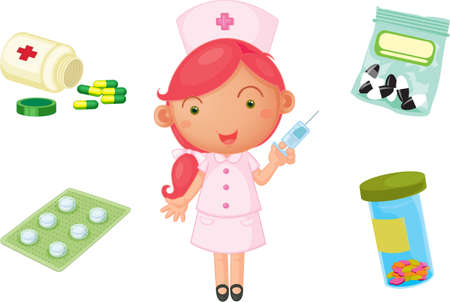 cartoon nurse: illustration of a girl on a white background