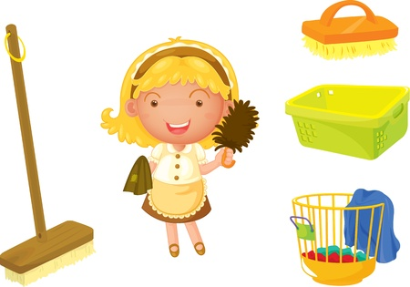 duster: illustration of a girl on a white background