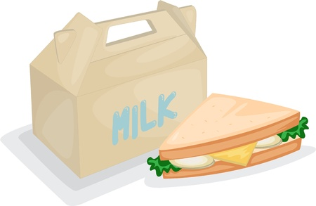 sandwich white background: illustration of a sandwich and milk bag on a white background Illustration