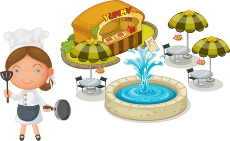 fountain: illustration of a girl and cakeshop on a white background Illustration