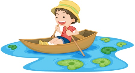 admiring: Illustration of A Boy in Boat on white background Illustration
