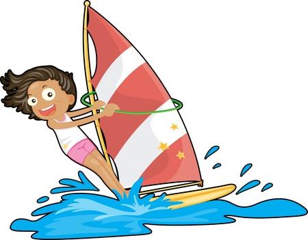 deportes nauticos: Ilustraci�n de una ni�a de vela sobre el agua en el fondo blanco