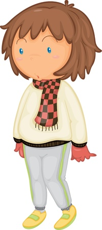 woman in scarf: illustration of a girl on a white background