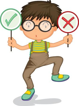 illustratie van een jongen die symptomen vertonen op een witte achtergrond