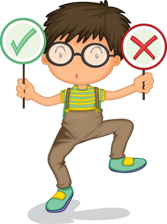wrong: illustration of a boy showing signs on a white background